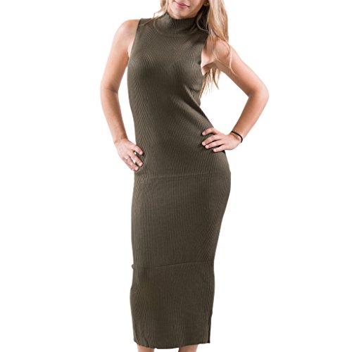 [[16354R-OLV-MD] Women's Sleeveless Mock Turtleneck Sweater Dress: Knit Bodycon] (Sexy Halloween Cost)