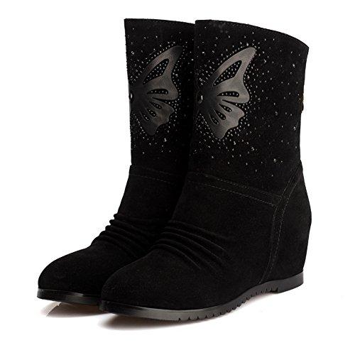 Botines Kitten-heels Con Punta Cerrada Y Punta Redonda Para Mujer De Amoonyfashion Con Negro Fruncido