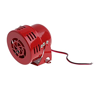 Forgun 1950s 12V Car Truck Motorcycle Driven RED Air Raid Siren Horn Alarm 50's