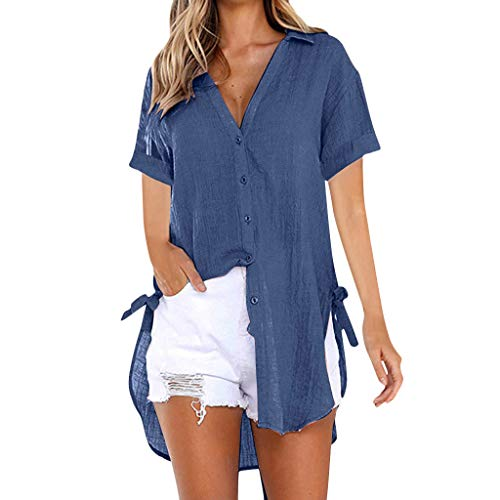 RIUDA Womens Loose Button Long Shirt Dress Cotton Ladies Casual Tops T-Shirt Mini Blouse Navy