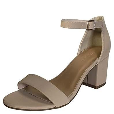 Women's Suede Buckle Belt Peep Toe Block Heels Tan 6 B(M) US
