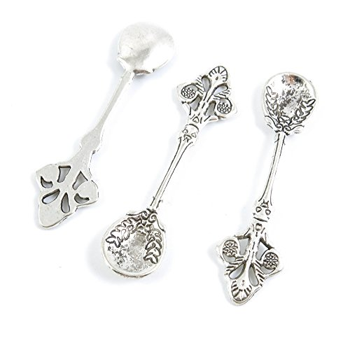 Qty 40 Pieces Antique Silver Tone Jewelry Making Supply Charms Findings C4ZJ3 Spoon Tablespoon Silver Tone Spoon