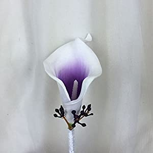 Lily Garden Real Touch Calla Lily Purple and White Flowers Wedding Bouquet 5