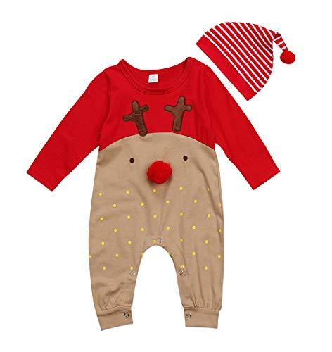 VISGOGO 2PCS Newborn Baby Girls Boys Kid Bodysuit Romper Jumpsuit Outfits Clothes Set +Hat (12-18 Months)]()