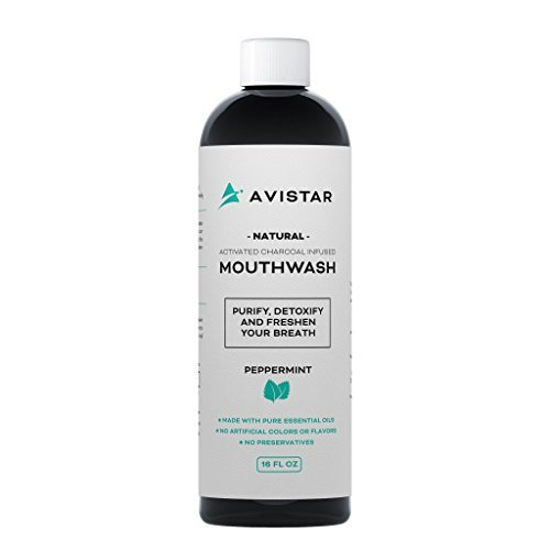 Natural Activated Charcoal Mouthwash: Purify, Detoxify & Freshen Your Breath! - Peppermint Flavor (Made In The USA)