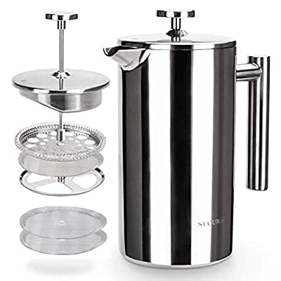 Secura French Press Coffee Maker, 304 Grade Stainless Steel Insulated Coffee Press with 2 extra Screens