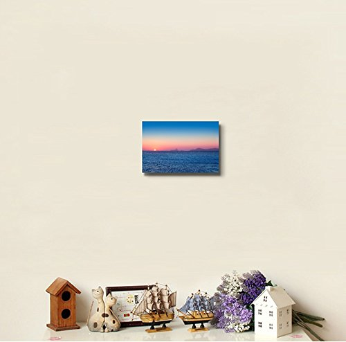 Beautiful Sunset Seascape with Mountian from Afar Home Deoration Wall Decor