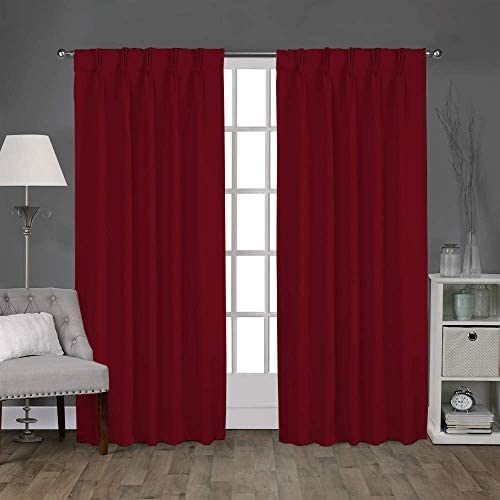 Magic Drapes Double Pinch Pleat Curtains Home d cor 100 Polyester Blackout Window Curtain Panel Drapes and Thermal Insulation 1 Panels,52×108,Burgundy