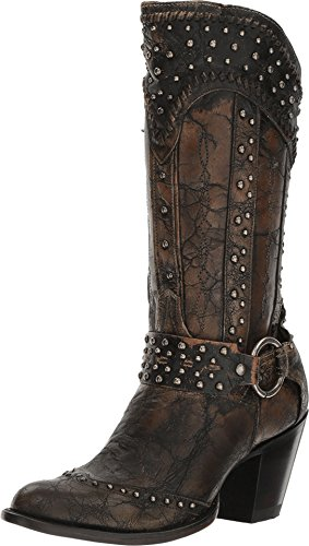 Dan Post Women's Sexy Back Studded Fashion Western Boot Round Toe Black 7 M