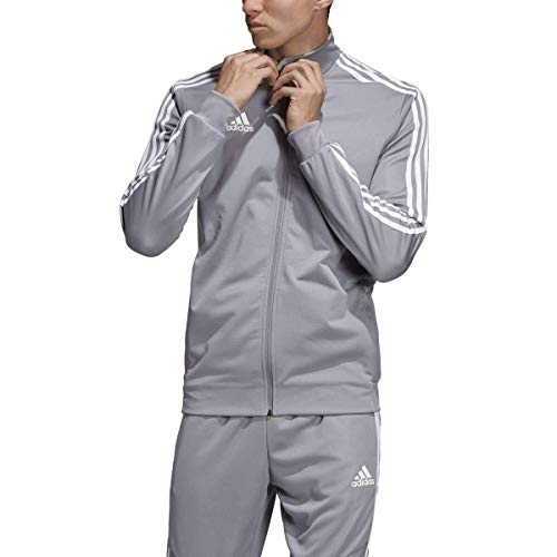 adidas Men's Tiro 19 Track Suit (S Jacket/M Pants, Grey/White) (Tracksuit Logo)