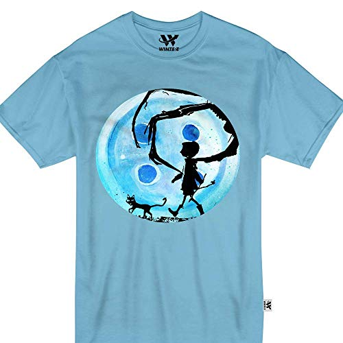 Coraline Blue Full Moon Nightmare Cat Halloween Horror Button Tshirt