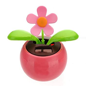 30830bf95 TOOGOO(R) Flip Flap Solar Powered Flower Flowerpot Swing Dancing Toy  Novelty Home Ornament - Pink  Amazon.co.uk  Car   Motorbike