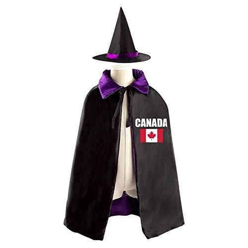 Halloween Costume Children Cloak Cape Wizard Hat Cosplay Canada Mapple Leaf For Kids Boys Girls -