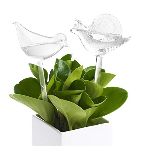 Plant Watering Bulbs (2 Pack) Glass Self-Watering Stakes Water Globe Automatic Irrigation Device For Indoor Outdoor Plants Garden Patio Flower Pot Hanging Planters