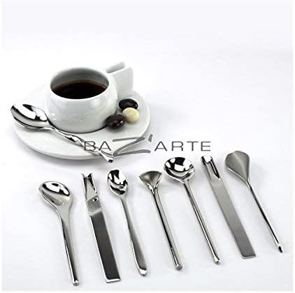 Alessi Mspoonset Il Caff/è//t/è Alessi Set de 8 Cuillers /à Caf/é en Acier Inoxydable 18//10 Brillant