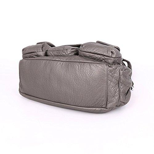 Angelkiss - Bolso al hombro de Piel para mujer 13.8*5*13 gris