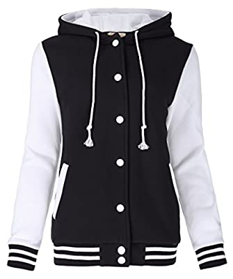 Kate Kasin Women's Varsity Baseball Hoodie Jacket Outerwear Bomber Coat