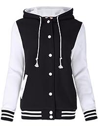 Unisex Women's Varsity Baseball Hoodie Jacket Outerwear Bomber Coat