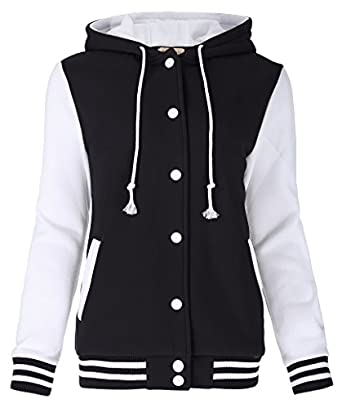 Kate Kasin Women's Varsity Baseball Hoodie Jacket Outerwear Bomber ...