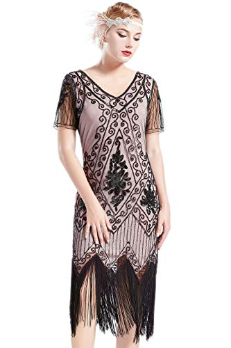 BABEYOND 1920s Art Deco Fringed Sequin Dress 20s Flapper Gatsby Costume Dress (Black Beige, -