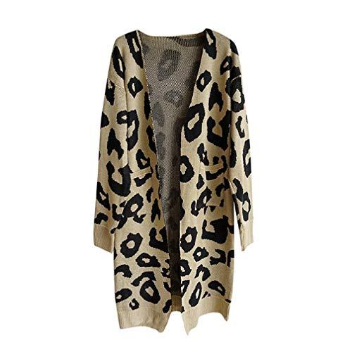 FIRERO Fashion Women Knitted Print Long Sleeve Cardigan T-Shirt Tops Sweater Coat
