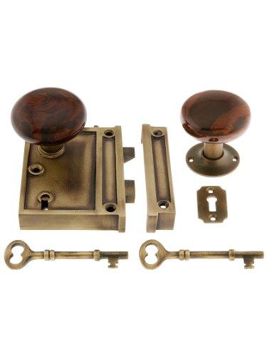 House of Antique Hardware R-01HH-1022V-SBN-AB Solid Brass Vertical Rim Lock Set with Bennington Style Porcelain Knobs in Antique - Vertical Rim