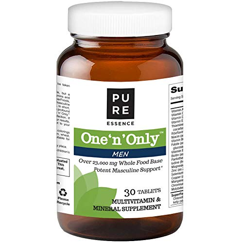 (Pure Essence Labs One N Only Multivitamin for Men - Natural One a Day Herbal Supplement with Vitamin D, D3, B12, Biotin - 30 Tablets)