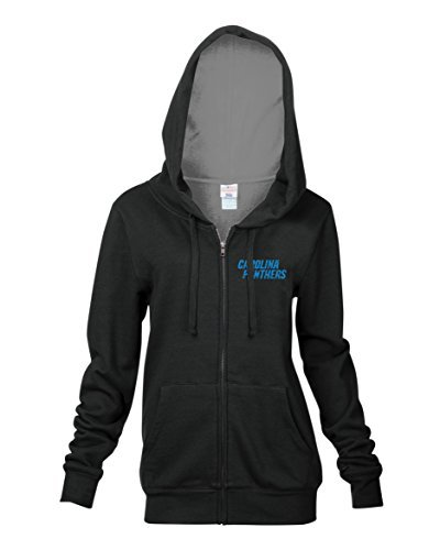 Nfl Carolina Panthers Womens Full Zip Fleece Hoodie With Pouch Pocket  Black  Medium