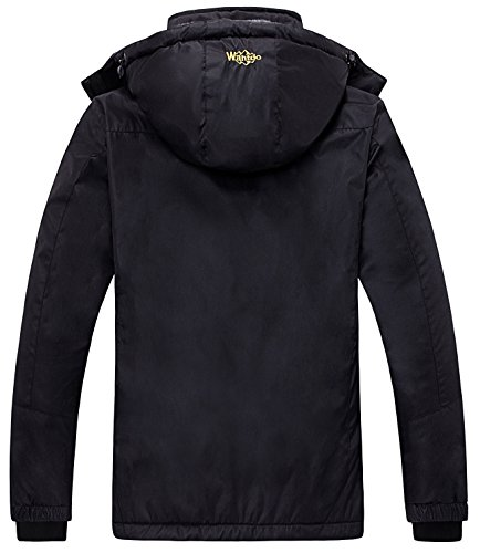 Wantdo Women's Waterproof Mountain Jacket Fleece Windproof Ski Jacket, Black, Medium