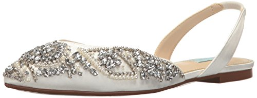 Blue by Betsey Johnson Women's SB-Molly Pointed Toe Flat, Ivory Satin, 8 M US by Betsey Johnson