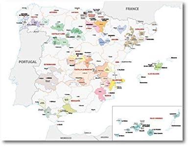 Mapa póster y grabados sala de estar pared arte lienzo pintura España vino región mapa decoración del hogar-50x70_cm_No_Frame_PH4305: Amazon.es: Bricolaje y herramientas