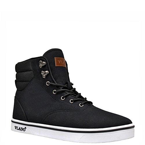 VLADO Footwear Mens Milo Canvas High Top High Top Sneaker-Boot Black