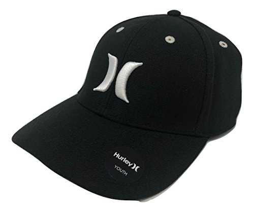 Hurley Kids' Boys' Youth Flex Fit Hat Cap, One Size, Style 9A7010 (One Size, Black)