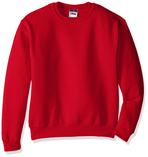 Jerzees Youth Fleece Crew Sweatshirt, True Red, (20% Polyester Crewneck Sweatshirt)