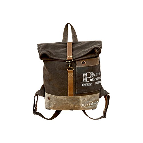 Recycled Tarp - Clea Ray Recycled Green Brown Canvas Large Roll Top Backpack,