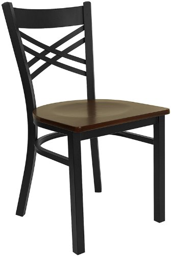 Flash Furniture HERCULES Series Black ''X'' Back Metal Restaurant Chair - Mahogany Wood Seat (Traditional Wood Mahogany Side)