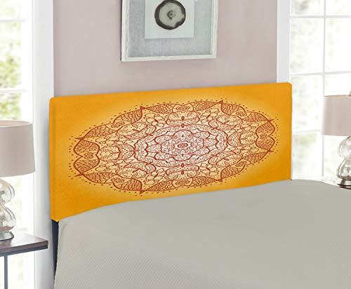 Lunarable Mandala Headboard, Retro Oriental Circular Mehndi Inspired Curve Form Kirsch Image, Upholstered Decorative Metal Headboard with Memory Foam, for Twin Size Bed, Dark Orange Marigold