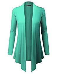 Bh B I L Y Usa Women S Open Front Drape Hem Lightweight Cardigan With Pockets Mint Xx Large
