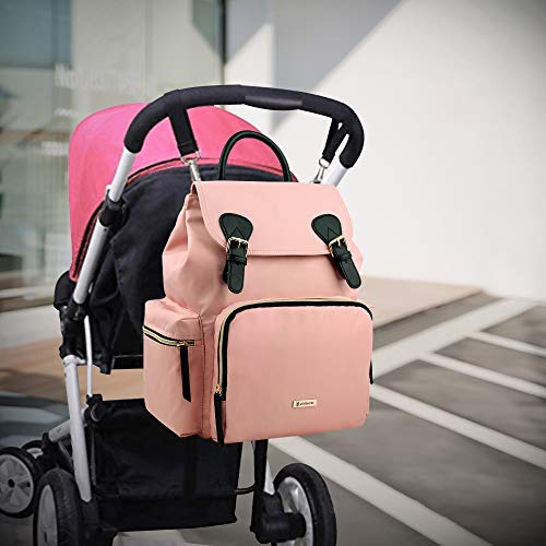 41BFaSJoTWL - Vogshow Waterproof Diaper Bag, Multifunction Stylish Travel Backpack Maternity Nappy Bag For Baby Care, Large Capacity And Durable (Pink)