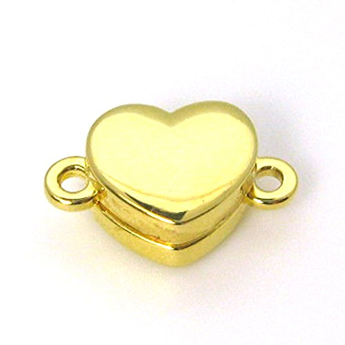 Gold Plated Sterling Silver Smooth Shiny Heart Clasp - Magnetic Clasp Toggle Set (Sold per 1 set) (Gold Plated)