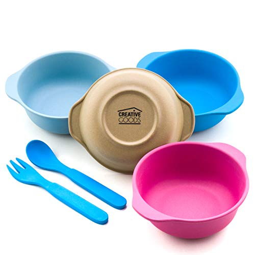 Creative Goods Bamboo Kids Bowls | Eco Friendly Food Bowls for Toddlers and Young Children | No BPA, Phthalate & Lead, Non Toxic, Biodegradable Alternative to Plastic | 4 Bowl Set & Bonus Utensils