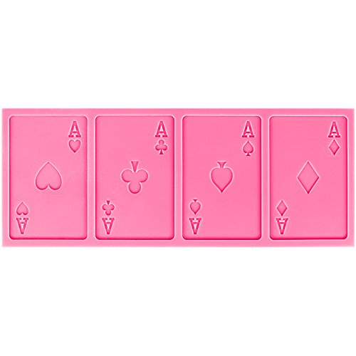 Funshowcase Sugarcraft Playing Cards 4 Aces Poker Four of a Kind Fondant Silicone (Card Chocolate Candy Mold)