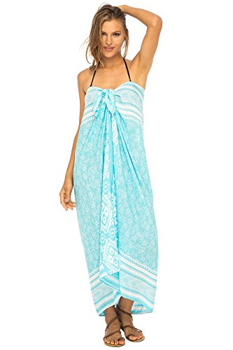 Back From Bali Womens Beach Dress Sarong Bikini Swimsuit Cover Up Wrap with Easy Built-in Ties ()