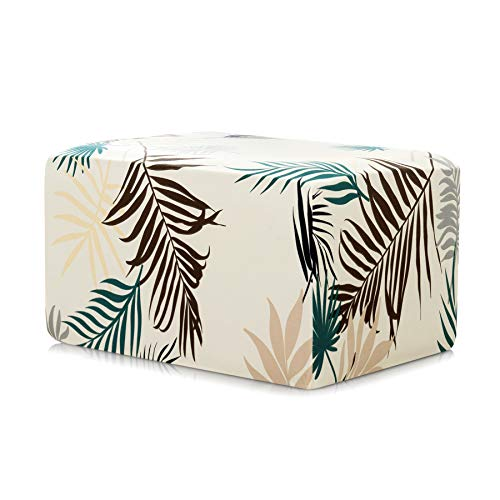 Subrtex Printed Ottoman Slipcover Stretch Ottoman Protector Removable Rectangular Footstool Cover (Oversize, ()