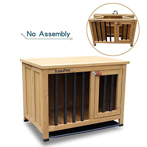 Lovupet No Assembly Wooden Portable Foldable Pet Crate Indoor Outdoor Dog Kennel Pet Cage with Tray 0651(28.1