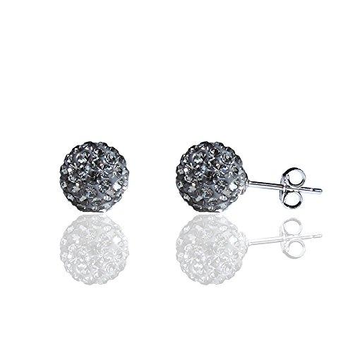 BAYUEBA 925 Sterling Silver Crystal Ball Stud Earrings 8mm Grey (Pack Crystal Earring Stud)