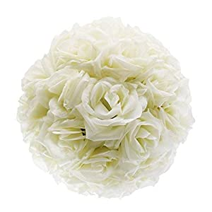 DGQ 10 Inch Ivory Satin Flower Ball for Bridal Wedding Artificial Wedding Party Ceremony Decoration 23