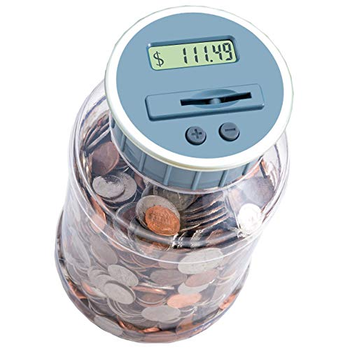 (M&R Digital Counting Coin Bank. Batteries Included! Personal Coin Counter/Money Counting jar, totals up Your Savings- Works with All U.S. Coins-in Retail Packaging.)