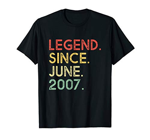 Legend Since June 2007 12th Birthday 12 Years Old Shirt