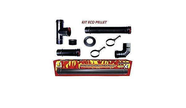 CHIMENEA kit eco estufa de pellets tubos esmaltados 80 mm de tubo de acero negro resistente 600 CE fabricado en Italia porcellanata de combustiòn: ...